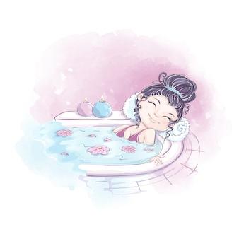 La ragazza giace in un bagno con oli aromatici e sale. aromaterapia e spa. personaggio disegnato a mano e sfondo acquerello.