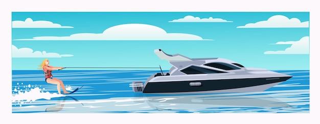 Una ragazza con un giubbotto di salvataggio fa sci nautico sulle onde. bellissimo yacht moderno, piccola barca da crociera. bella donna, ragazza sci nautico, godendo attività acquatiche estive, fumetto illustrazione vettoriale.