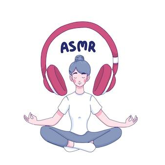 La ragazza ascolta il personaggio dei cartoni animati di asmr