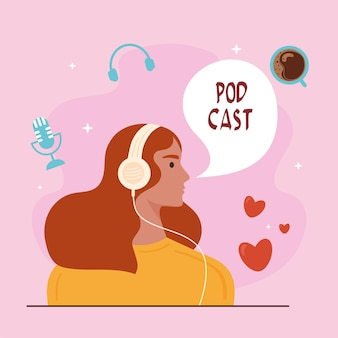Podcast in ascolto della ragazza