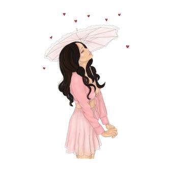 Ragazza innamorata con l'ombrello