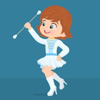 Ragazza in uniforme di majorette che gioca con il suo bastone