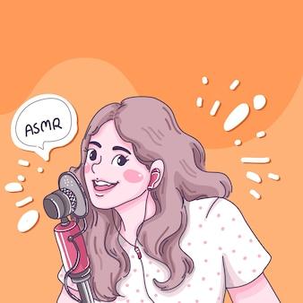 La ragazza fa l'illustrazione del fumetto di asmr.