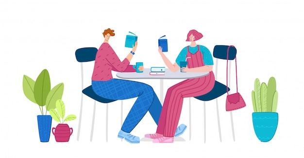 Libri di lettura dell'uomo e della ragazza che si siedono in caffè o in kitcen, studenti che leggono e studiano, fan della letteratura o concetto degli amanti Vettore Premium