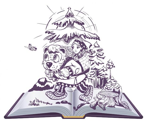 Ragazza masha e orso fiaba popolare russa illustrazione libro aperto lettura per bambini
