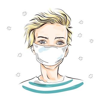 Una ragazza con una maschera medica. illustrazione.