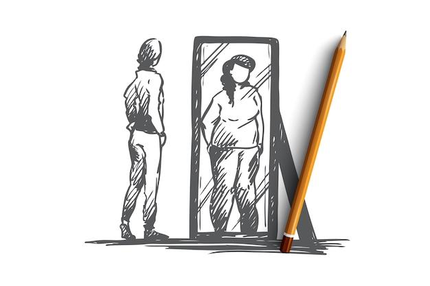 Ragazza, specchio, corpo, distorto, concetto di peso. ragazza adolescente infelice disegnata a mano guarda allo specchio con schizzo di concetto di immagine del corpo distorta.