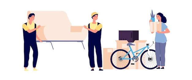 Ragazza in movimento nuovo appartamento. il caricatore trasporta il divano, una donna che tiene in mano una scatola di cartone. illustrazione di vettore del servizio di consegna e trasporto veloce. nuovo appartamento trasloco, ragazza che disimballa e trasporta