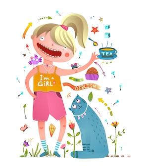 Ragazza e gatto domestico bevendo tè elementi di design da ragazza