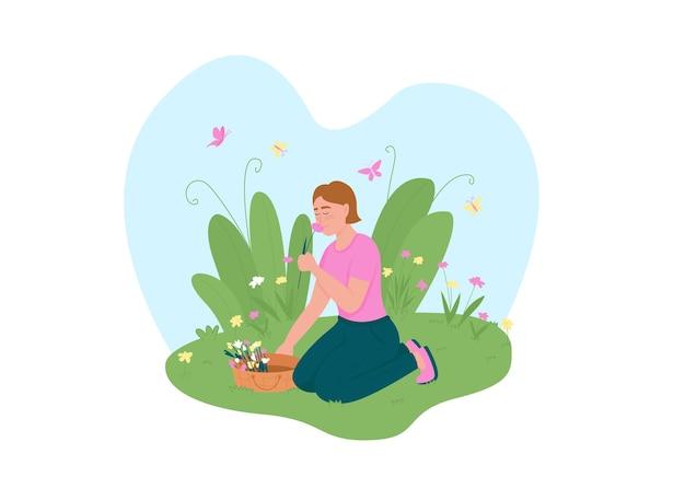 Ragazza raccogliendo fiori banner web 2d, poster