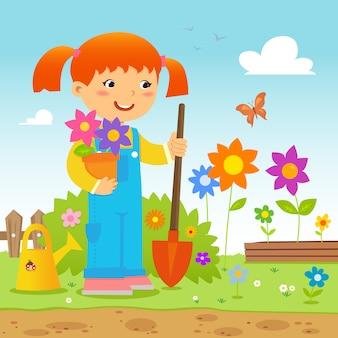 Ragazza che pianta i fiori in giardino