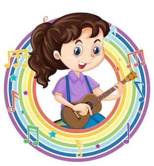 Una ragazza che suona la chitarra in una cornice rotonda arcobaleno con simboli di melodia