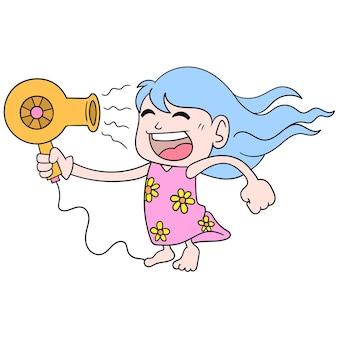 Una ragazza che gioca con l'asciugacapelli viene diretta sul viso per asciugarsi i capelli, illustrazione vettoriale scarabocchiare icona immagine kawaii.
