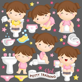 Ragazza potty training