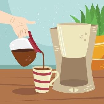 La ragazza versa il caffè dalla caffettiera alla tazza di caffè. metodi alternativi di preparazione del caffè. cultura del caffè.