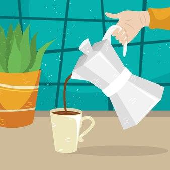 La ragazza versa il caffè dalla caffettiera geyser alla tazza di caffè. metodi alternativi di preparazione del caffè. cultura del caffè.