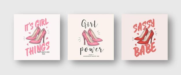Set di illustrazioni di abbigliamento vettoriale astratto di potere della ragazza. scarpe rosa e rosse con tacco alto disegnate a mano con slogan e tipografia girlie. collezione di modelli di design di t-shirt alla moda. isolato
