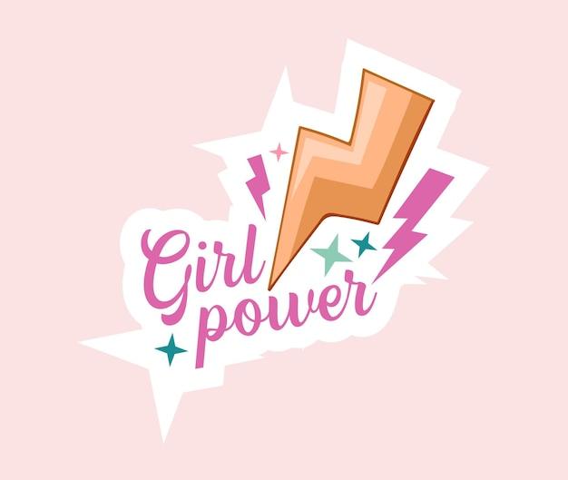 Emblema del fumetto di girl power con scritte, flash e stelle