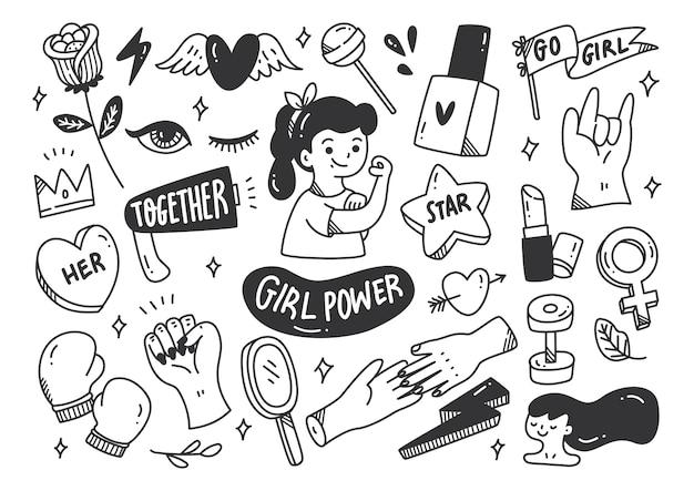 Concetto di potere della ragazza nel vettore di stile di doodle