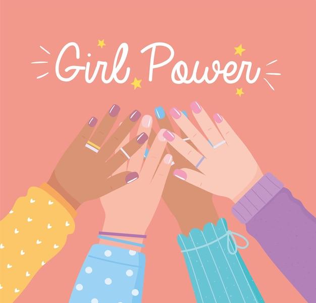 Girl power diverse mani in alto insieme femminile, illustrazione del giorno delle donne