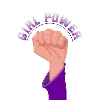 La mano femminile di potere della ragazza si è alzata in su in un pugno.