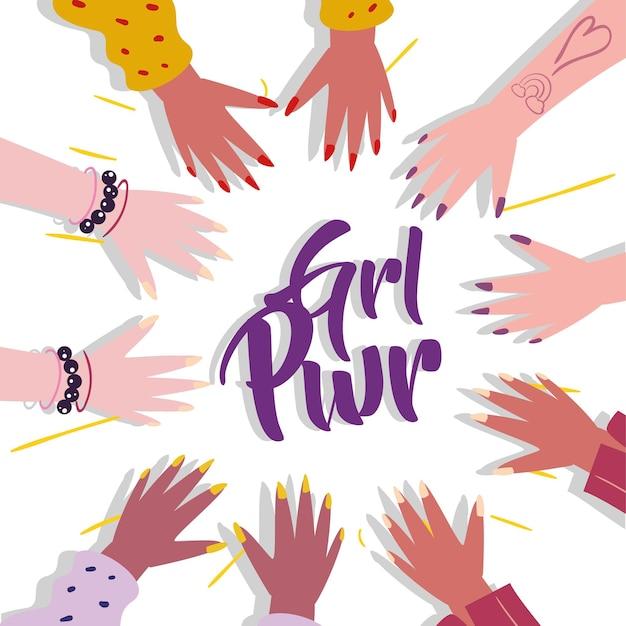 Girl power mani femminili cerchio design di emancipazione femminile femminismo femminile e tema dei diritti illustrazione