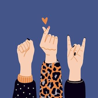 Girl power, femminismo e concetto di giornata internazionale della donna. illustrazione di vettore con la mano della donna.