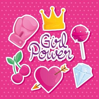 Girl power scritte con set di icone di design