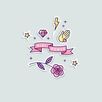 Citazione di potere della ragazza. set di adesivi doodle illustrazione.