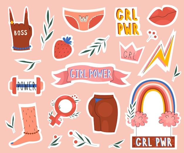Adesivi per la collezione di set di potere della ragazza e disegni di distintivi da donna in stile piatto