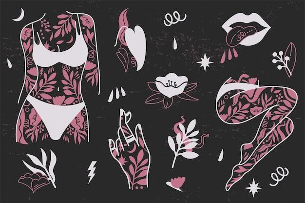 Girl power imposta icone simbolo di moda con le mani tatuate femminili