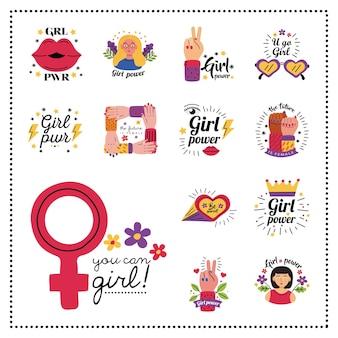 Disegno dell'accumulazione di simbolo di potere della ragazza dell'illustrazione femminile di tema di femminismo e diritti di emancipazione della donna