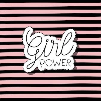 Testo di potere della ragazza in adesivo su fondo a strisce