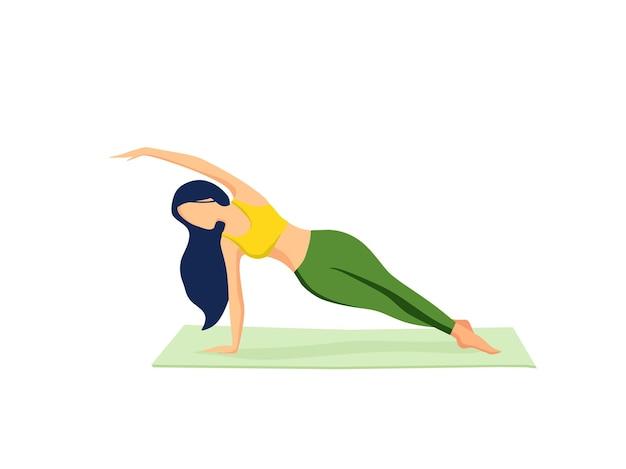 Una ragazza pratica esercizi di yoga su un tappetino a casa illustrazione vettoriale
