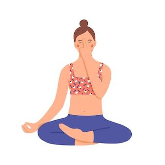 Ragazza che pratica pranayama. la giovane donna usa una tecnica di respirazione speciale. personaggio che fa yoga nella posizione del loto. rilassamento e controllo del respiro. illustrazione vettoriale colorato in stile cartone animato piatto.