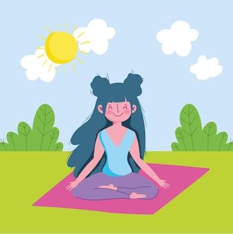 Ragazza a praticare yoga
