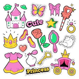 Distintivi, toppe, adesivi principessa per bambina - corona, castello, cuore, anello in stile fumetto pop art. illustrazione