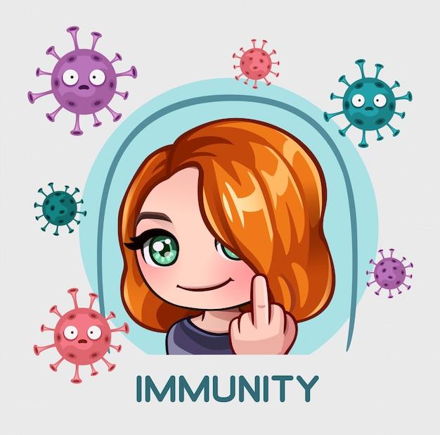 La ragazza sotto protezione dell'immunità mostra il dito medio Vettore Premium