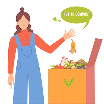 La ragazza mette la buccia di banana in un bidone della composta. bidone del compost con materiale organico. compost per fiori domestici, illustrazione di bio, fertilizzante organico. salvare il concetto di pianeta.