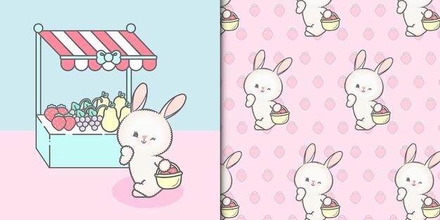 Coniglio ragazza con carta di frutta e reticolo senza giunte