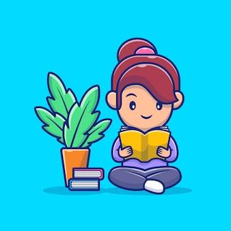 Illustrazione dell'icona del libro di lettura della ragazza. personaggio dei cartoni animati di lavoro da casa mascotte.