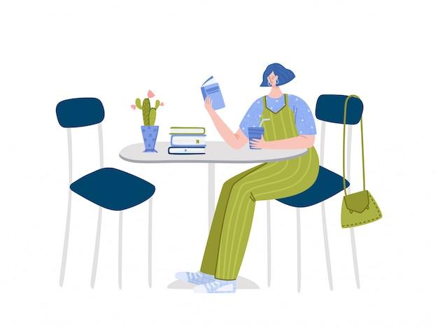 Libro di lettura della ragazza che si siede in caffè o nel suo kitcen, studente letto e studio, fan della letteratura o concetto dell'amante Vettore Premium