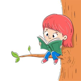 Ragazza che legge un libro con la seduta su un ramo con fondo bianco