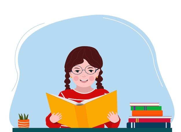 La ragazza legge un libro, impara le lezioni, fa i compiti di scuola. una scrivania, libri di testo. vettore
