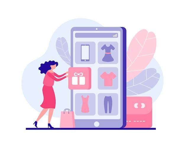 La ragazza riceve un regalo per il concetto piatto di prodotto promozionale. il personaggio femminile prende la confezione regalo nell'applicazione online mobile. sconti per le vacanze e vendite redditizie con sorpresa di marketing.