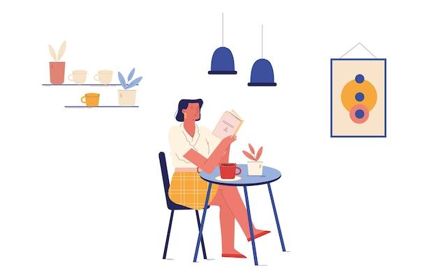 Ragazza rilassante seduta a tavola con una tazza di caffè