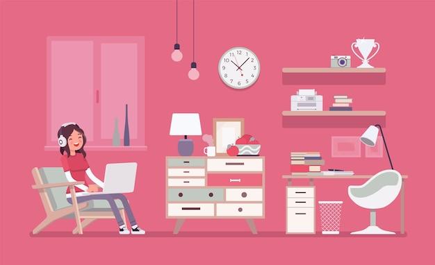 Interior design della camera della ragazza