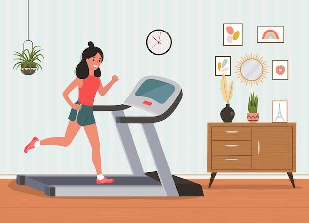 Ragazza che corre sul tapis roulant nell'illustrazione di stile del fumetto piatto soggiorno