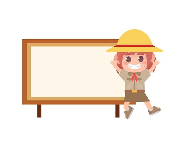 Girl scout e cartello in legno con striscione