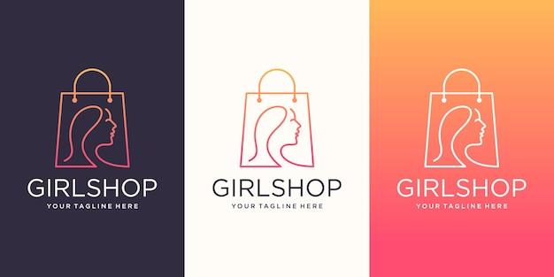 Girl shop logo design template, borsa abbinata a capo donna.
